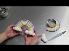 Rainbow fondant topper with clouds. Sharon Wee shows us how to create an amazing Fondant Rainbow Cake Topper with her easy, inspiring tutorial. You'll be making your own in no time!Search for Rainbow - Queen Fine FoodsUnicorn Cake Tutorial Decorated Cakes To Make, How To Make Cake, Fondant Cake Toppers, Fondant Cakes, Cupcake Cakes, Mini Cakes, Cake Topper Tutorial, Fondant Tutorial, Rainbow Cake Tutorial
