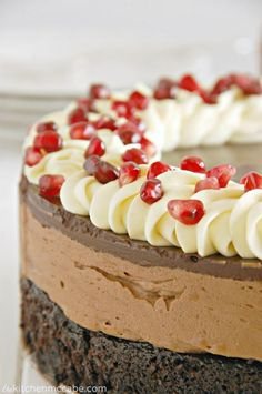 Pomegranate Triple Chocolate Mousse Cake | TheBestDessertRecipes.com