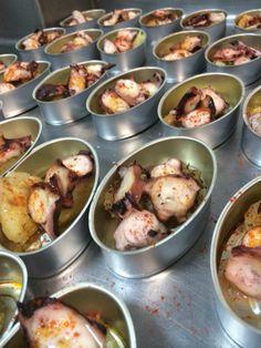 Preparación de Tapitas de pulpo a la Gallega individual.