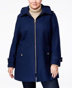 MICHAEL Michael Kors Plus Size Hooded Wool-Blend Walker Coat