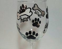 Painted wine glass Puppy print wine glass dog by MyShardsofGlass