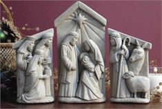 A Stable In Bethlehem - Set  Hand Cast Stone  Made in U.S.A. Sculpted by George Carruth
