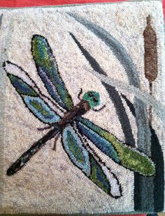 Japanese Embroidery Fish Dragonflies, Hooked by Ellen Gould - Rug hooking pattern. Rug Hooking Designs, Rug Hooking Patterns, Embroidery Designs, Crewel Embroidery, Floral Embroidery, Hook Punch, Punch Needle Patterns, Latch Hook Rugs, Rug Inspiration