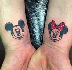 Minnie mouse tattoo. Couple Tattoos Unique Meaningful, Couple Tattoos Love, Unique Tattoos, Mickey Tattoo, Mickey Mouse Tattoos, Disney Tattoos, Body Art Tattoos, Girl Tattoos, Tattoos For Women
