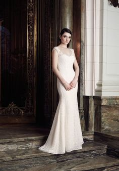 Mikaella Lace Wedding Dress. Lace fit and flare gown with sweetheart neckline and invisible tulle yoke. Sweep Train. Available colours: Natural Lace with Pearl Lining and Natural Lace with Latte Lining.