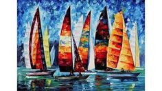 Art Gallery Painting - Sail Regatta - Palette Knife Oil Painting On Canvas By Leonid Afremov by Leonid Afremov Oil Painting On Canvas, Painting Prints, Canvas Art, Canvas Prints, Art Prints, Frida Art, Oil Painting Reproductions, Contemporary Art, Modern Wall Art