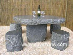 Granite Furniture Granite Table, Rustic Bench, Table And Chairs, Tables, Black Granite, Construction Materials, Outdoor Furniture, Outdoor Decor, Stone