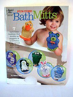 Crochet Pattern Book Bath Mitts Puppets Wash Cloths Scrubbie Annies Attic 879512