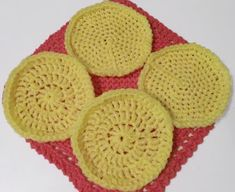 Finished crocheting 4 more nylon net scrubbies today! Thought I'd share a pattern for circular scrubbies using double crochet stit...