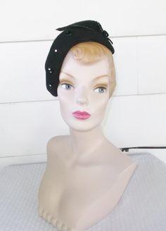 40s 50s Vintage Black Felt Side Tilt Hat with by MyVintageHatShop