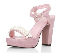 Pearl Thick Crust Waterproof Retro Thick Heel Sandals