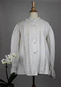 Lovely Antique Women's Top House Clothing Maternity in White Cotton | www.SarahElizabethGallery.com