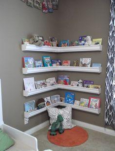 How About This Rain Gutter Bookshelf for Your Kids Room? - http://www.amazinginteriordesign.com/rain-gutter-bookshelf-kids-room/