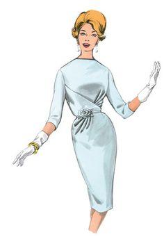 Schnittmuster: Vintage Kleid mit Taillenbetonung und ¾ Ärmel - Cocktailkleider - Kleider - Damen - burda style