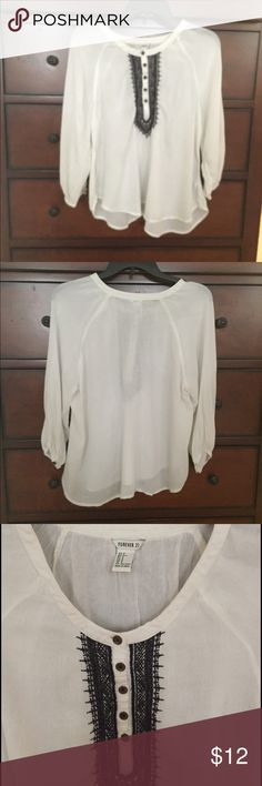 Pretty flowy boho blouse Pretty blouse with black embroidery Forever 21 Tops Blouses