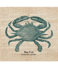 Vintage blue crab digital download image sealife teal ocean transfer to fabric burlap paper pillows cards tote bags towels No. 593. $1.00, via Etsy.