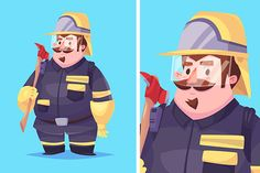 Vecto  illustration of fireman by Krol on Creative Market