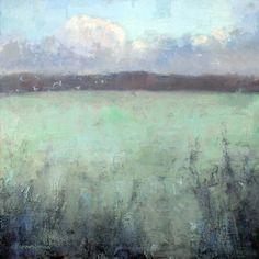 Oil painting of winter frosty fields - Andrew Barrowman