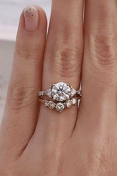 21 Three Stone Engagement Rings You Will Want ❤️ three stone engagement rings round cut wedding set rose gold ❤️ See more: http://www.weddingforward.com/three-stone-engagement-rings/ #weddingforward #wedding #bride