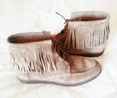 Nala Fringe Bootie / Suede Leather Ankle Boots / Mocha by Twininas