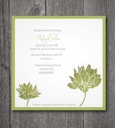 Printable Bridal Shower Invitation Modern Green by Designbykristin,
