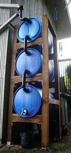 have got to say this is one of the most awesome DIY rainwater harvesting projects I have ever seen!I have got to say this is one of the most awesome DIY rainwater harvesting projects I have ever seen! Water Collection System, Rain Collection, Water Storage, Shed Storage, Storage Containers, Off Grid, Jardin Decor, Rainwater Harvesting System, Urban Homesteading