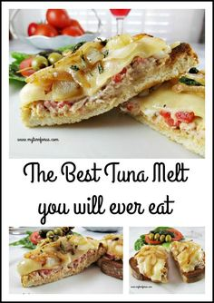 The Best Tuna Melt that you will ever eat!  Tuna Salad with pimentos topped with melted provolone cheese and caramelized onions