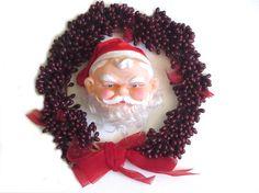 Vinyl Santa Head Red Cloth Hat Curly Nylon Hair by recreated1