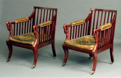 Antique pair of bergere chairs - Stock - Moxhams Antiques