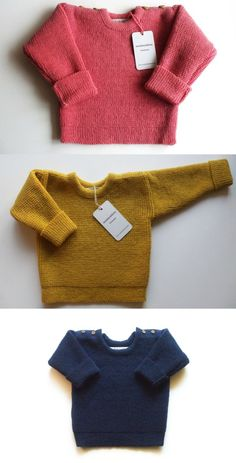 Thick, warm and beautiful round collar lambswool sweater with handmade oak buttons for babies / children. Knitted in a beautiful bead pattern. Sweater sleeves are extendable, so that it will fit your child for several seasons. - a unique product by Woolenfashion via en.dawanda.com