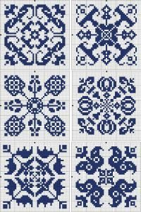 Six square tiles | Chart for cross stitch or filet crochet.
