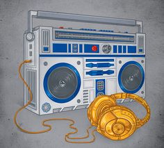 Love this Star Wars Illustration. R2D2 and C3PO retro stereo and headphones.