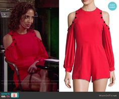 Lily's red cold-shoulder romper on The Young and the Restless. Outfit Details: https://wornontv.net/77259/ #TheYoungandtheRestless