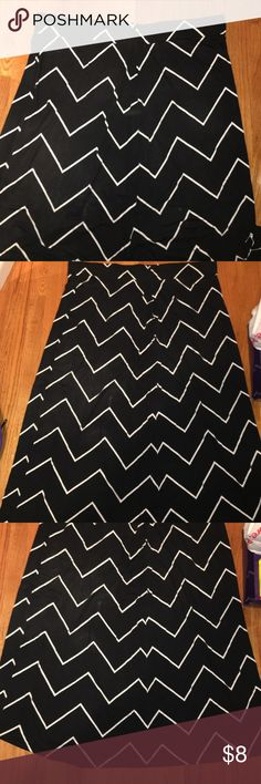 Black and White Stripped Maxi Skirt Black with white stripes. Gently worn, slight discoloration from being washed. Elastic waist. Size 3X Skirts Maxi