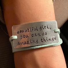 Bracelet Quotes, Jewelry Quotes, Bookmarks Quotes, She Is Fierce, Birthday Wishlist, Stamped Jewelry, Bracelet Designs, Metal Stamping, Graduation Gifts