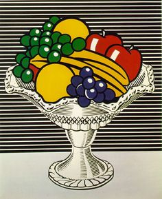 Roy Lichtenstein Still Life with Crystal Bowl, Oil and acrylic on canvas, 52 × 42 in. Whitney Museum of American Art, purchase, with funds from Frances and Sydney Lewis © Estate of Roy Lichtenstein Roy Lichtenstein Pop Art, Robert Rauschenberg, Jasper Johns, Arte Pop, Fiesta Pop Art, Bd Pop Art, Pop Art Food, Pop Art Party, 5th Grade Art