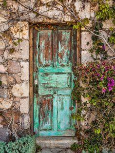 Doorway in Mexico II Photographic Print by Kathy Mahan at Al Cool Doors, Unique Doors, Vintage Doors, Rustic Doors, Old Wooden Doors, Garden Doors, Painted Doors, Door Knockers, Of Wallpaper