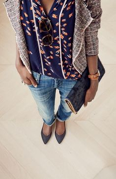 LOVE the tweed with blouse and boyfriend jeans!