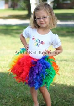 Personalized Rainbow Birthday Girl Feather Tutu Skirt Outfit