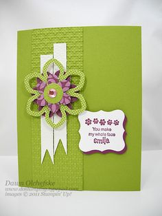 Stamps: Sprinkled ExpressionsInk: Rich Razzleberry Paper: Rich Razzleberry, Lucky Limeade, Confetti WhiteAccessories: Big Shot, Square Lattice Texture Impressions Embossing Folder , Blossom Builder Designer Printed Kit, Curly Label Punch, Stampin' Dimensionals