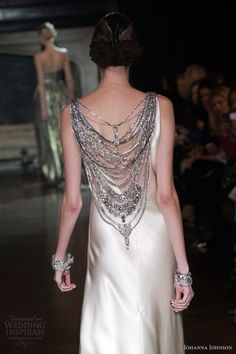 johanna johnson bridal spring 2014 muse sheath wedding dress embellished neckline crystal chains