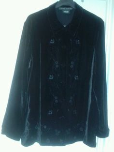 Laura #ashley size xl classic shirt black velvet with silk #floral #embroidery ,  View more on the LINK: 	http://www.zeppy.io/product/gb/2/142134267593/