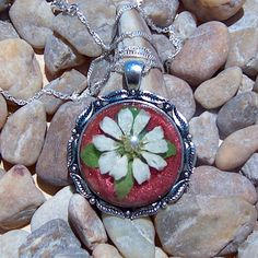Handmade White Daisy Pendant Necklace Cameo with Gift Box
