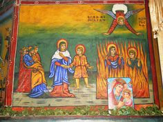 The three young men in the fiery furnace , St. Raguel Ethiopian Orthodox Church, Entoto.
