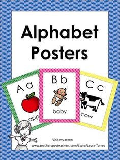 Alphabet Posters with pictures and words. $