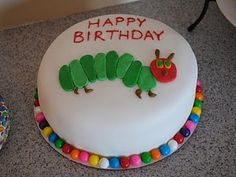 """For Nora's Birthday party we had a Very Hungry Caterpillar theme. Molly loves """"reading"""" this book to Nora, so we thought this would be . Cute Birthday Cakes, Birthday Ideas, Birthday Stuff, Baby Birthday, Birthday Parties, Hungry Caterpillar Cake, Occasion Cakes, Cupcake Cakes, Fondant Cakes"""