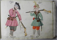 Album leaf; double portrait of a royal bodyguard (right) and a muskateer (left). The bearded bodygaurd stands, legs crossed, with eyes cast downwards while resting upon his long riffle.  Small bags and a daggar hang from the sash tied around his waist.  The mustakeer stands opposite, with his equally long riffle slung over his shoulder.  A long sword and purse hang from his tied sash, while a feather protrudes from his hat.  Void background.  Inscriptions appear above each figure.  Painted…