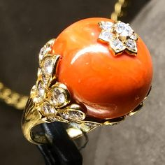 Van Cleef & Arpels Coral and Diamond Ring, c.1960 #ForSale #FDGallery