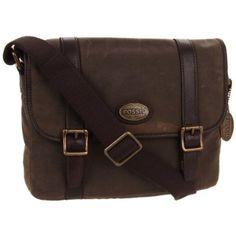 Fossil Estate Portfolio Brief Canvas Laptop Bag - designer shoes, handbags, jewelry, watches, and fashion accessories | endless.com
