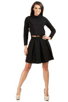 Krótka gładka bluza damska z golfem i długim rękawem